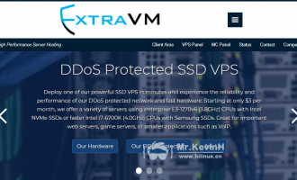 ExtraVM:法国VPS/1核/512M内存/7G SSD/1T流量/500M端口/KVM/月付$3/OVH机房/做站