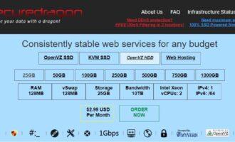 『VPS』SecureDragon – 2核/512M内存/250G硬盘/10T流量/1G带宽/存储型VPS/OpenVZ 7/月付2.99美元