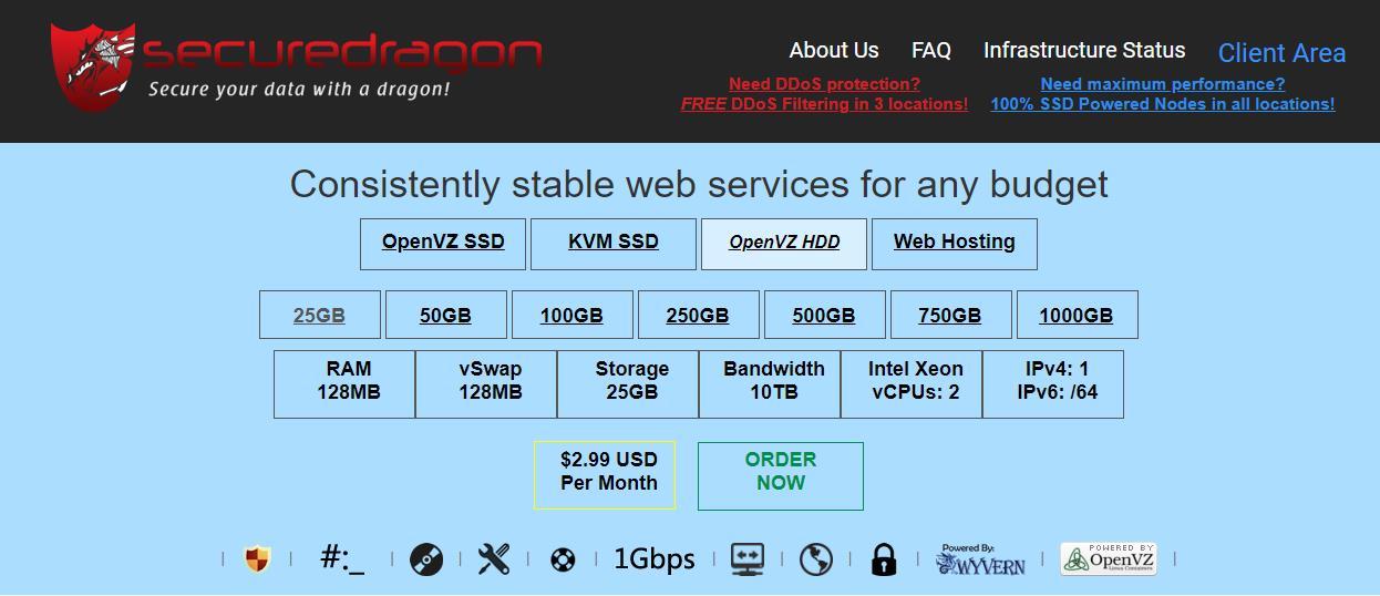 『VPS』SecureDragon - 2核/512M内存/250G硬盘/10T流量/1G带宽/存储型VPS/OpenVZ 7/月付2.99美元 资讯 第1张